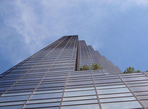 pastatas, bokštas, struktūra, miestas, dangus, stiklas, aukšta struktūra prieš dangų