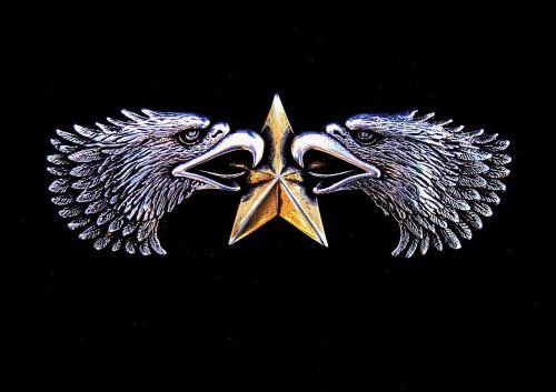 emblema, simbolis, erelis, žvaigždė, paukštis, sidabras, auksas, emblema