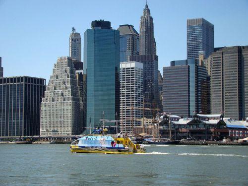 naujas, York, Manhatanas, pastatas, panorama, architektūra, sala, taksi, Taksi, valtis, upė, gabenimas, vandens taksi