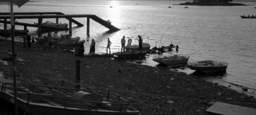 ežeras, valtys, dusk, saulėlydis, vanduo, valtis, valtys ant ežero