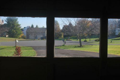 langas, langai, garažas, saulės šviesa, vaizdas, žiūriu