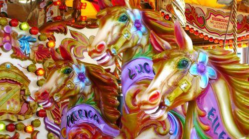 3 Carousel Ride Horses