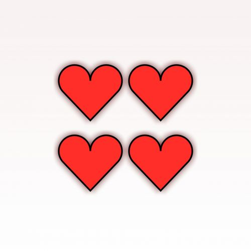4, keturi, raudona, širdis, izoliuotas, balta, fonas, kontūrai, juoda, meilė, simbolis, piešimas, siluetas, 4 raudonos širdies