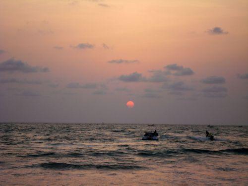 Sun Set In Sea Shore