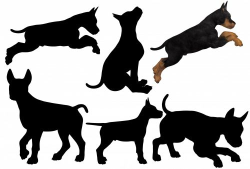 6 Puppies Silhouette