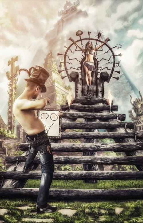 7so0o,cilindras,kopėčios,ritualas,auka,piramidė,speneliai,oranžinės nipelės,džinsai,menininkas,mergaitė,altorius,šepetys