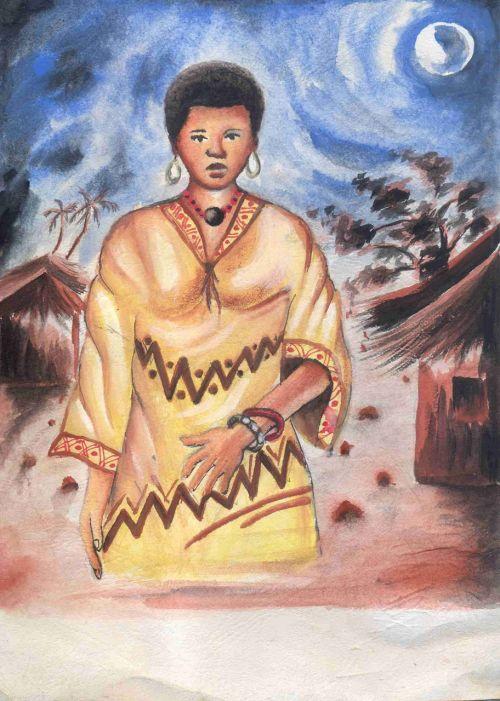 afrika, princesė, moteris, dažymas, žmonės, Afrikos princesė