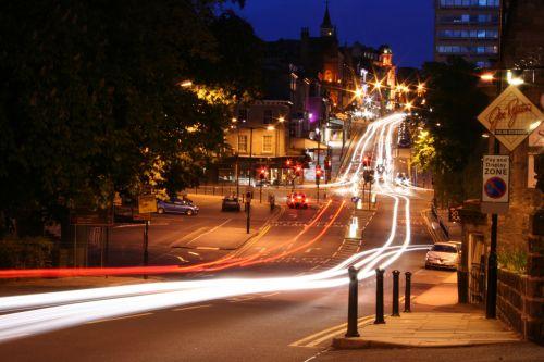 eismas, naktis, dažyti, šviesa, automobiliai, galva, stabdis, žibintai, eismas naktį