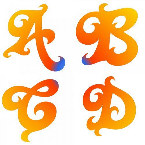 A B C D Letters