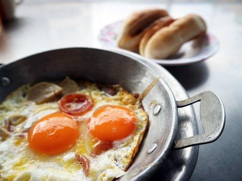 a fried egg  breakfast  food