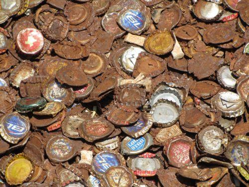 bottle caps rusty metal