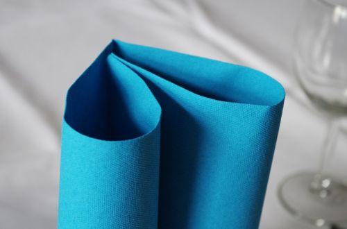 a napkin heart blue