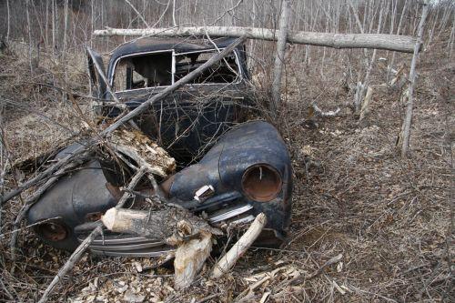 paliktas, automobilis, nuolaužos, šiukšlių, apleistos automobilio nuolaužos junk