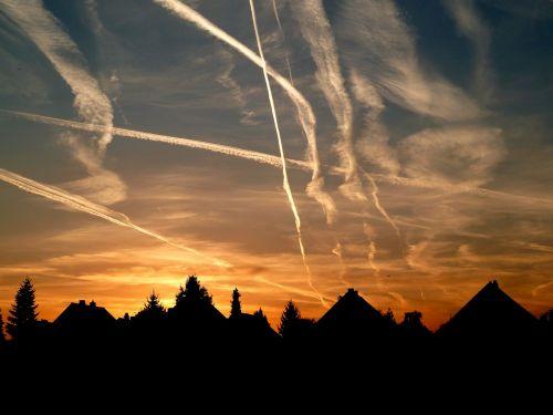 abendstimmung sunset contrail