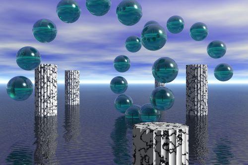 abstract sphere pillars