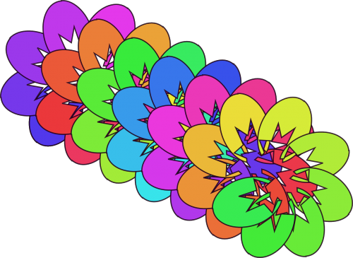 abstract flowers rainbow