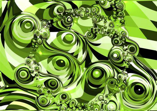 abstraktus,retro,žalias,forma,fraktalas,chaosas,chaotiškas,psichodelinis,modelis
