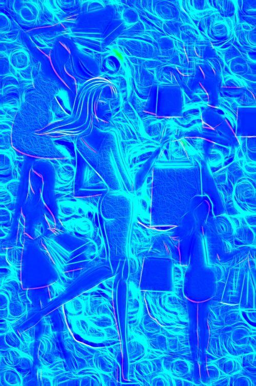 abstract creative art girls shopping