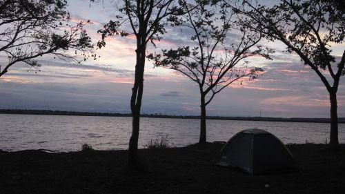 stovykla, dangus, rožinis, upė, ne & nbsp, filtras, stovykla