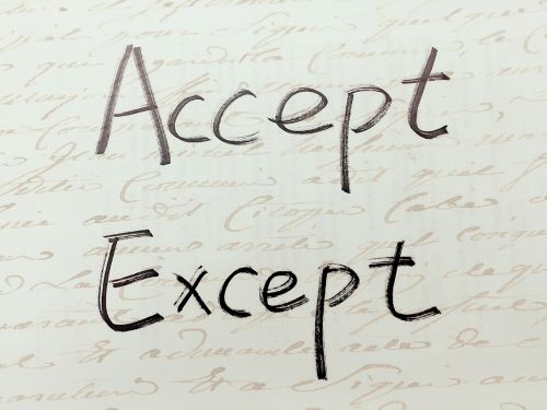 accept except handwriting