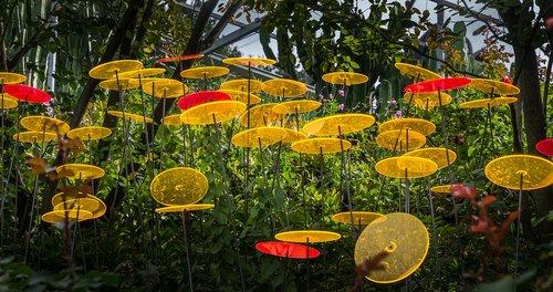 acrylic discs  yellow  orange