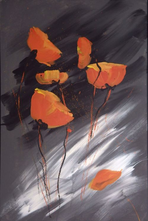 acrylic painting own production poppies