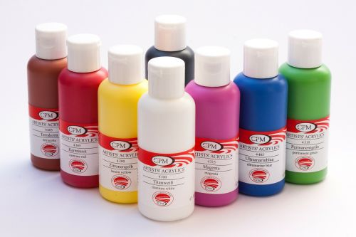 acrylic paints color bottles