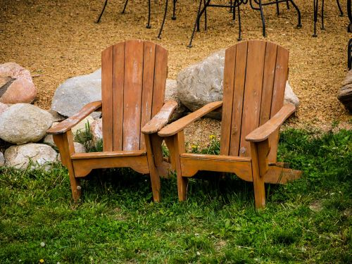adirondack chairs lawn rocks