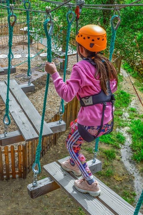 adventure park  ropes  girl