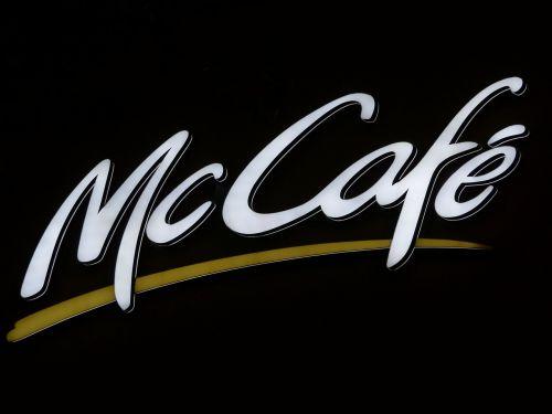 skelbimas,neoninis ženklas,kavinė,Mccafe,mcdonalds,skydas,reklaminis ženklas,raidės,balta