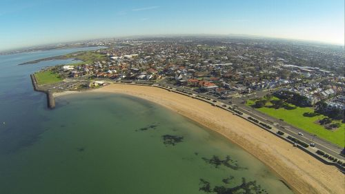 antena, scena, papludimys, jūra, Viktorija, australia, Williamstown, Australijos paplūdimio scena Australija