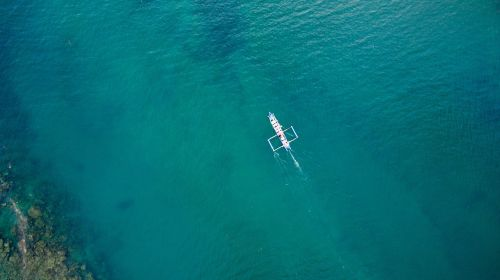 aerial photo sea blue fishermen
