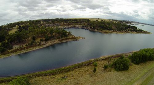 Aerial Photo Of A Reservoir