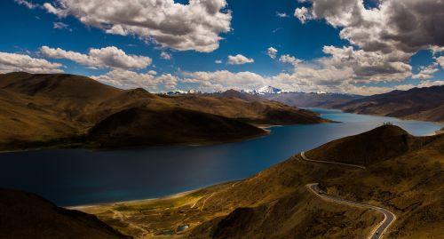 mountains landscape river