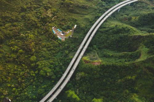 aerial view highway landscape