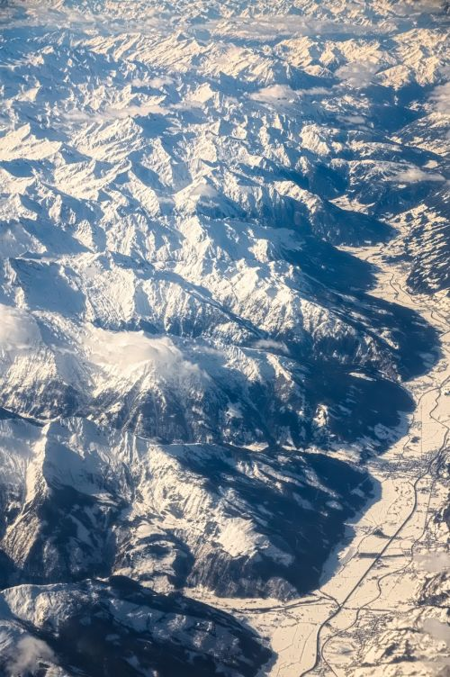 aerial view alpine mountains