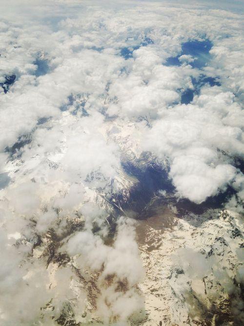 aerial view mountain range alpine