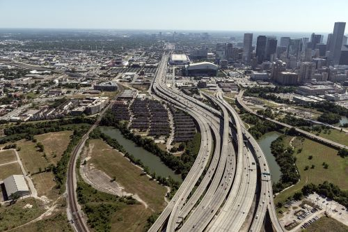 aerial view houston highways urban roads