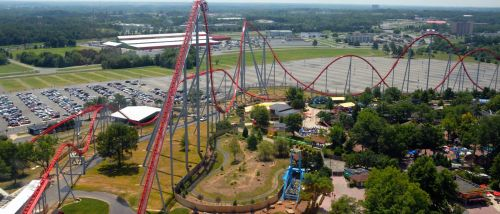 Aerial View Of Roller Coaster
