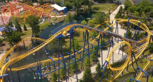 Aerial View Of Roller Coasters