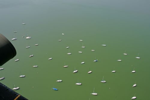 Aerial View Of Yachts On Dam
