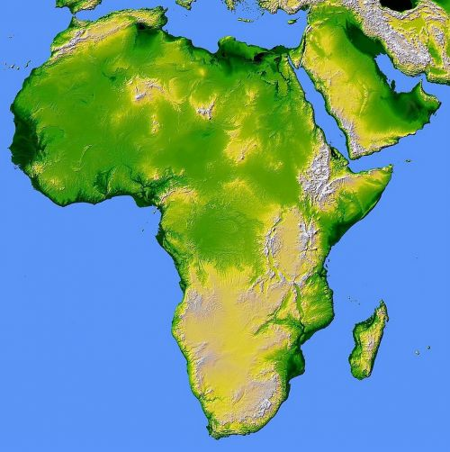 africa map relief
