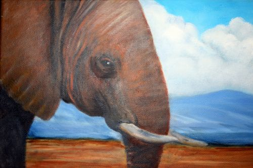 African Elephant In Oil On Canvas