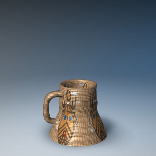 Afrikos, puodelis, rankena, taurė, dažymas, motyvas, modelis, izoliuotas, gradientas, mėlynas, fonas, tradicija, keramika, istorija, trapi, ornamentas, dizainas, apdaila, gražus, arabų puodelis