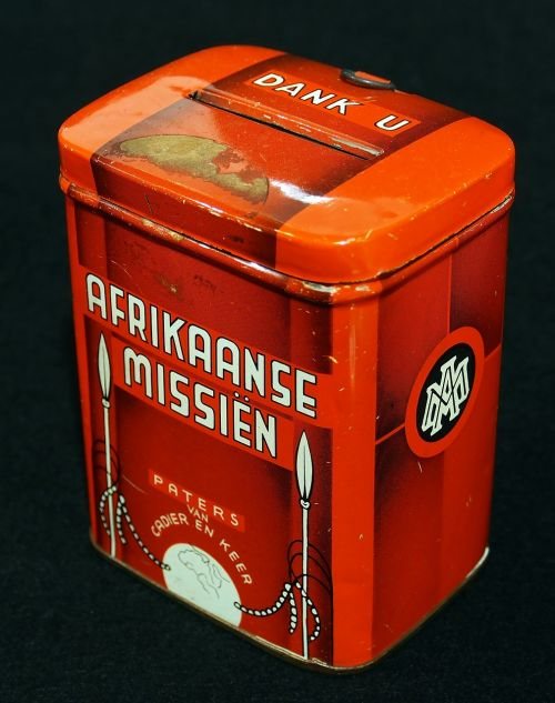 afrikaanse missien collecting box can