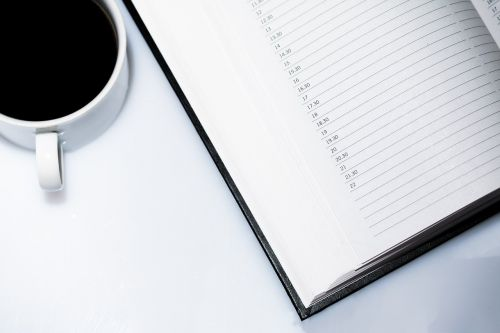 agenda appointment calendar coffee