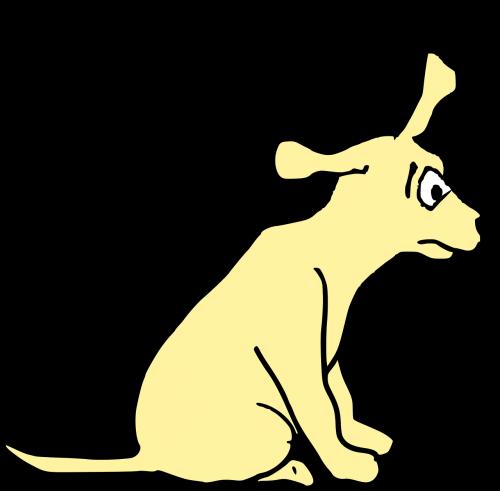 agitated cartoon dog