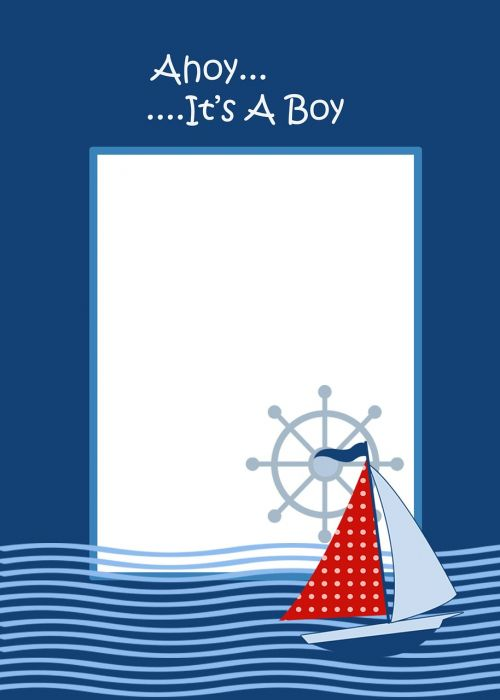 ahoy theme baby boy invite template