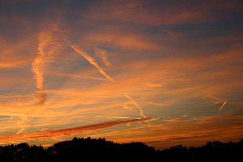 air trails sunset