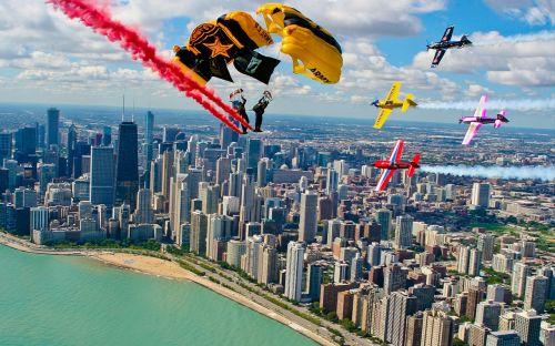 air show parachuting smoke